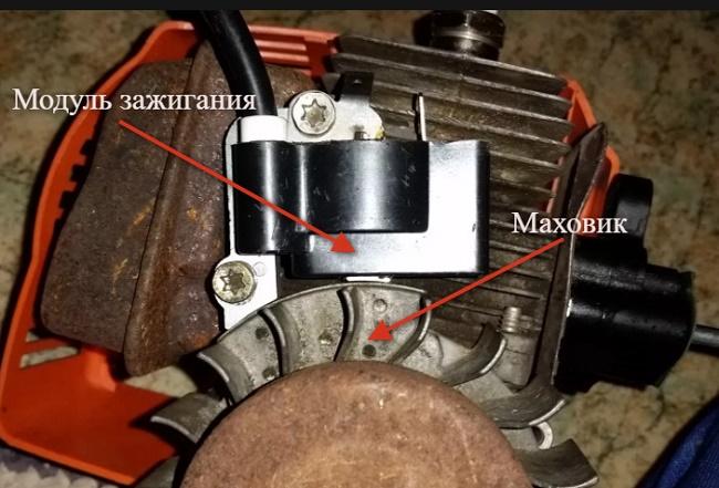 установка катушки зажигания на триммер